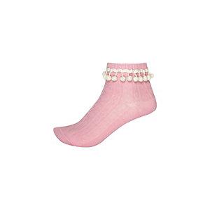 Girls pink white pom pom socks