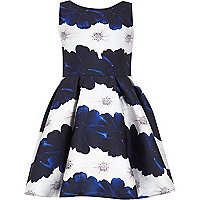 Girls blue floral prom dress