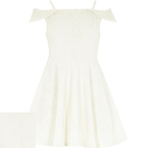 Girls cream lace bardot prom dress