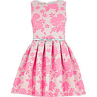 Girls pink jacquard floral prom dress