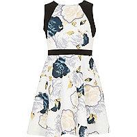 Girls cream floral skater dress