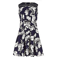 Girls blue floral pleated dress