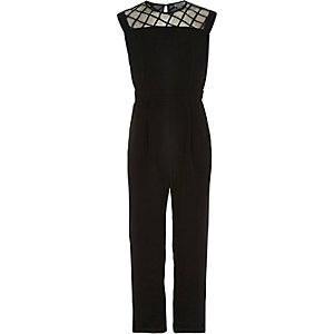 Girls black cross panel jumpsuit