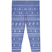 Mini girls blue paisley print leggings