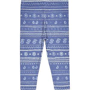 Mini girls blue paisley print leggings