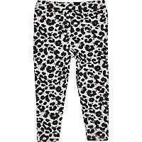 Mini girl grey ruffle back leopard leggings