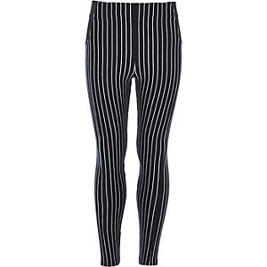 Girls navy stripe leggings
