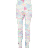 Girls pink floral marble print leggings