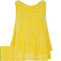 Girls yellow aztec print double layer top