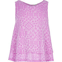 Girls purple Aztec print double layer vest