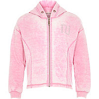 Girls pink diamante heart hoody
