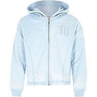 Girls blue diamante heart hoodie