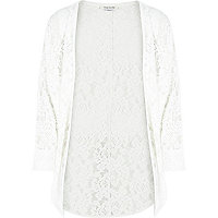 Girls white brushed lace drape cardigan