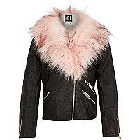 Girls black leather-look fur biker jacket