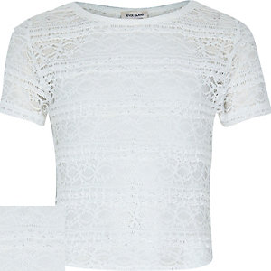 Girls cream fitted lace top