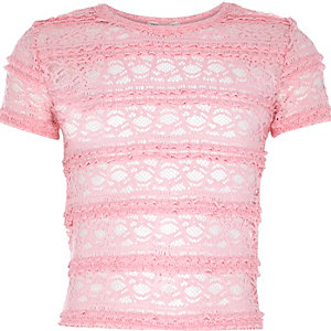 Girls pink fitted lace top