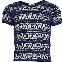 Girls navy fitted lace top