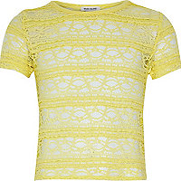 Girls yellow fitted lace top