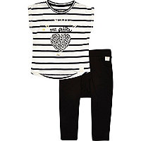 Mini girls leopard heart t-shirt trousers set