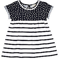Mini girls navy spot and stripe dress
