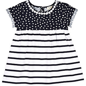 Mini girls navy spot and stripe dress