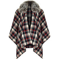 Girls blue and red check cape
