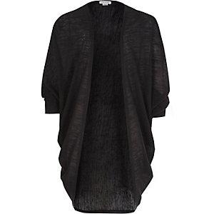 Girls black draped cardigan