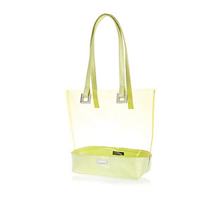 Girls lime green jelly shopper bag