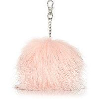 Girls light pink faux fur pom pom keyring