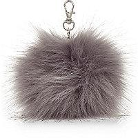 Girls grey faux fur pom pom keyring