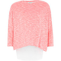 Girls pink chiffon back top