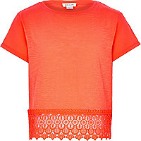 Girls orange lace crochet hem top