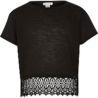 Girls black lace crochet hem short sleeve top