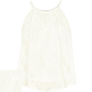 Girls white lace pineapple cami top