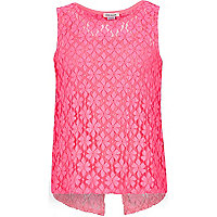 Girls pink lace split back top