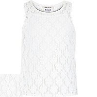 Girls white lace split back cami vest