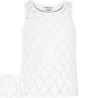 Girls white lace split back cami vest