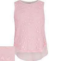 Girls pink heart lace dipped back hem top