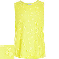 Girls yellow lace wrap back tank top