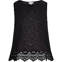 Girls black crochet hem sleeveless top