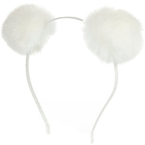Girls white pom pom ear head band