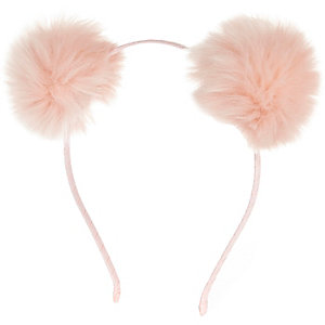 Girls pink pom pom ear headband