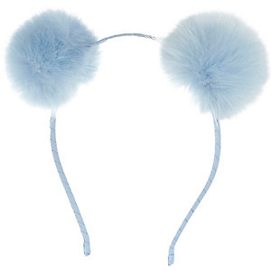 Girls blue pom pom ear headband