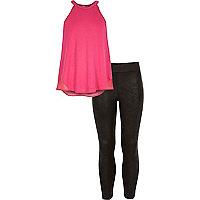 Girls pink chiffon back top and legging set