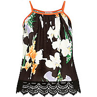 Girls black floral crochet hem cami top
