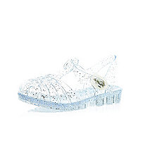 Mini girls white glitter flat jelly sandals