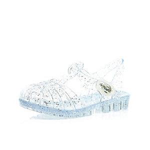 Mini girls white glitter flat jelly sandals