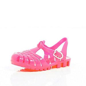 Mini girls pink flat jelly sandals