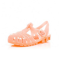 Mini girls coral flat jelly sandals