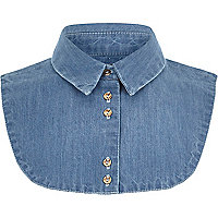 Girls blue denim shirt collar bib